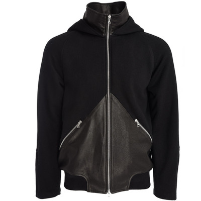 Mock Neck Leather Blocked Hoodie