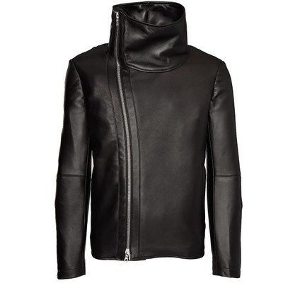 Cowl Neck Leather Jacket