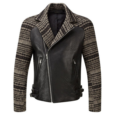 Knit Leather Biker Jacket