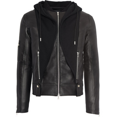 Leather Sweatshirt Hoodie Jacket