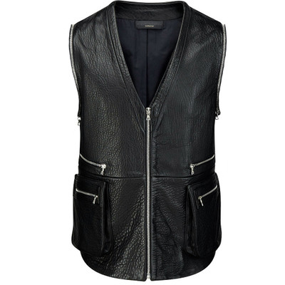 Leather Zippered Biker Vest