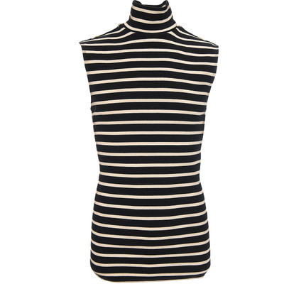 Striped Sleeveless Turleneck