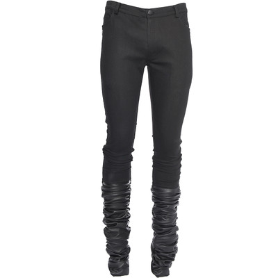 Stretch Denim + Leather Jeans