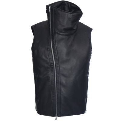 Funnel Neck Leather Biker Vest