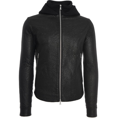 Hooded, Mesh Leather Jacket