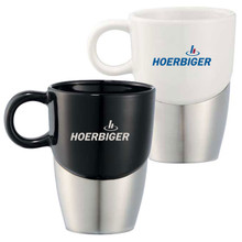 Double Dipper Ceramic Mug w/ Stainless Steel Base
