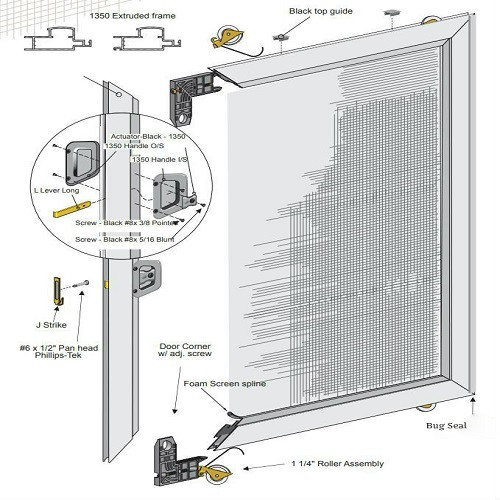 SUPERIOR EXTRUDED Sliding Screen Door   UNASSEMBLED