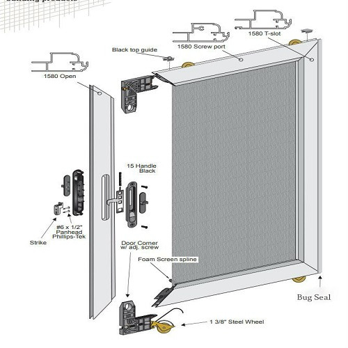 HERCULES EXTRUDED Sliding Screen Door   UNASSEMBLED