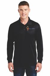Sale! Mens Long Sleeve Moisture-wicking Polo(L-Black)
