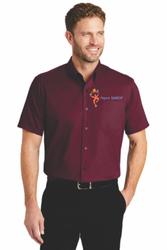 Sale! Mens  Short Sleeve Twill Shirt(S-Burgundy)