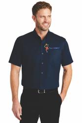 Sale! Mens  Short Sleeve Twill Shirt(L-Navy)