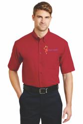 Sale! Mens  Short Sleeve Twill Shirt(XL-Red)