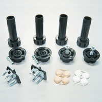 Camar Plastic Levelers with Plastic Sockets and Groove Mount Clips