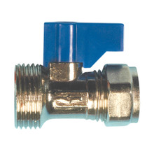 "Compression Isolator Valve 15mm x 3/4"" Male (with lever)"