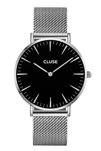 Cluse La Bohème Mesh Silver/Black Womens Mesh Watch CL18106