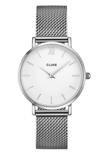Cluse Minuit Mesh Silver/White CL30009