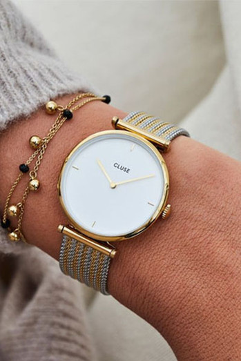 Cluse Triomphe Gold Bicolor Mesh Watch CL61002