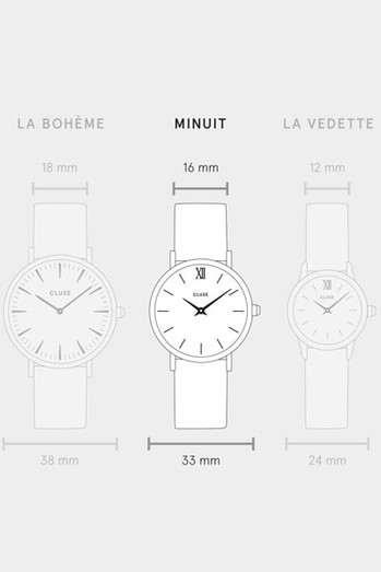 Cluse Minuit Rose Gold Black/Black Mesh Watch CL30064