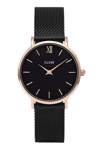 Cluse Minuit Rose Gold Black/Black Mesh Watch CW0101203024