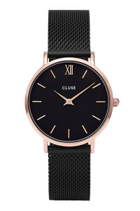 Cluse Minuit Rose Gold Black/Black Mesh Watch CL30064