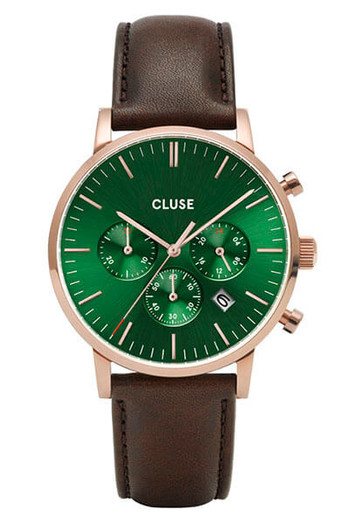 CLUSE Mens Aravis Chronograph Rose Gold Green/Dark Brown Leather Watch CW0101502006