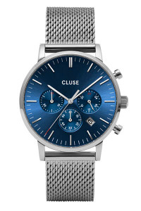 CLUSE Mens Aravis Chronograph Silver Dark Blue/Silver Mesh Watch CW0101502004