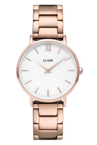 Cluse Minuit Rose Gold White/Rose Gold Link Watch CW0101203027