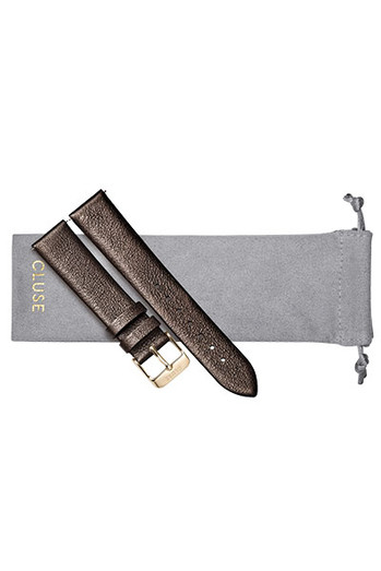 Cluse 18mm Watch Strap Chocolate Brown Metallic/Gold CS1408101057
