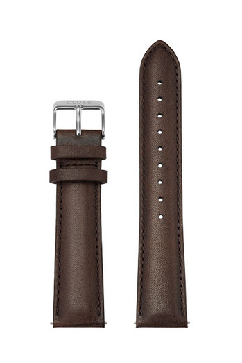 Cluse 20mm Leather Watch Strap Silver/Dark Brown CS1408101065
