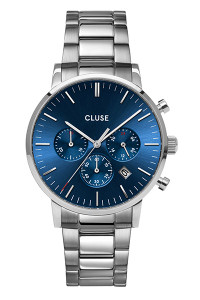 CLUSE Mens Aravis Chronograph Silver Dark Blue/Silver Watch CW0101502011 (