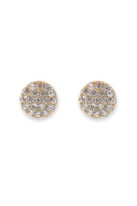 Bianc Gold Pave Disc Earrings 10100159
