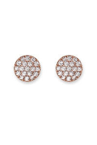 Bianc Rose Gold Pave Disc Earrings 10100191
