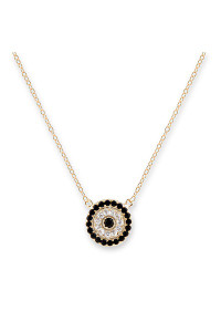 Bianc Gold CZ Round Evil Eye Necklace 30100152