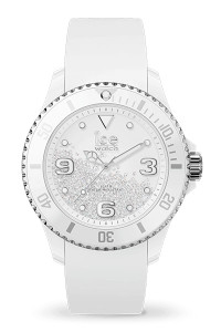Ice Crystal White Silver Smooth Medium 3H Watch 17246