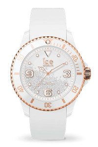 Ice Crystal White Rose Gold Smooth Medium 3H Watch 17248