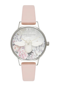 Olivia Burton Glasshouse Silver Nude Peach Watch OB16GH09