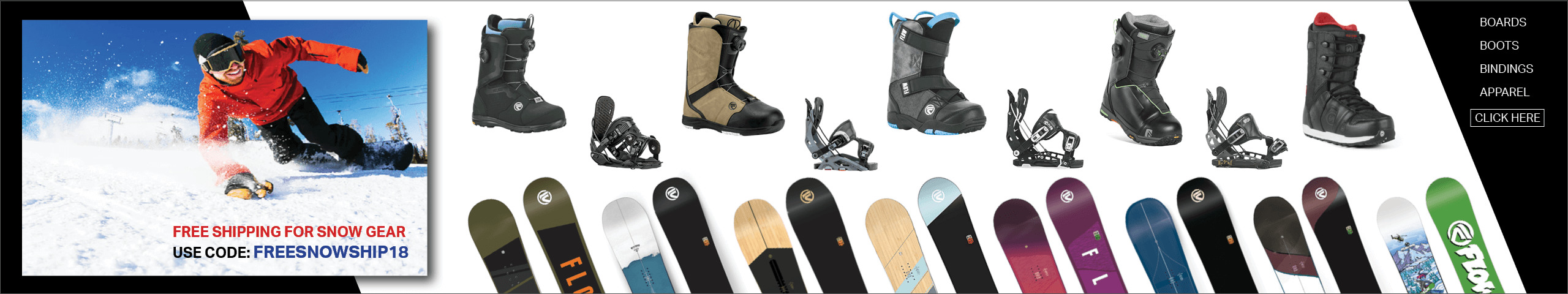 Snow bindings, snowboards, boots, apparel