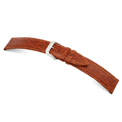 Cognac RIOS1931 Brazil | Embossed Leather Watch Band | Crocodile Print | RIOS1931.com