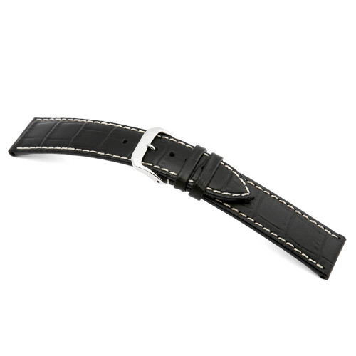 Black RIOS1931 Panama | Embossed Leather, Alligator Print Watch Band | RIOS1931.com