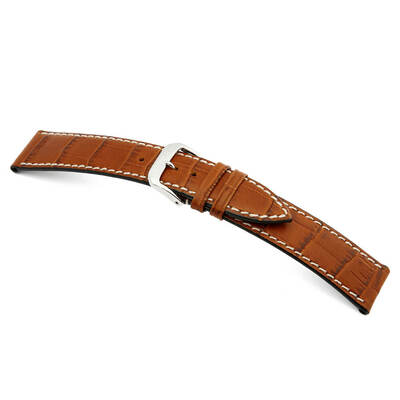 Cognac RIOS1931 Panama | Embossed Leather, Alligator Print Watch Band | RIOS1931.com