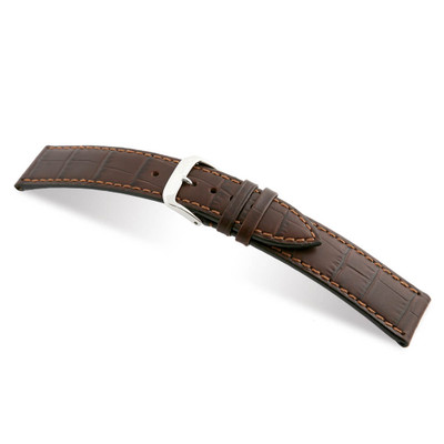 Mocha RIOS1931 Orlando | Embossed Leather, Alligator Print Watch Band | RIOS1931.com