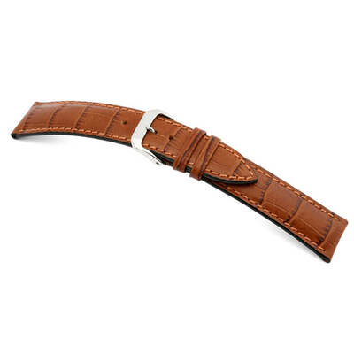 Cognac RIOS1931 Louisiana Embossed Leather | Alligator Print Watch Band | RIOS1931.com