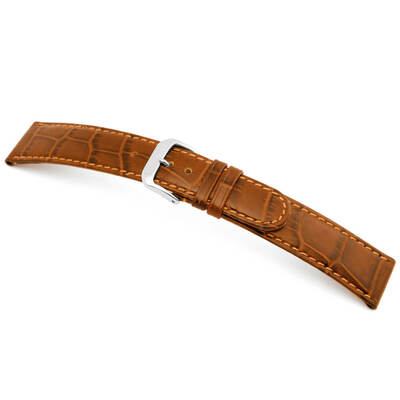 Cognac RIOS1931 Argentina | Embossed Leather, Alligator Print Watch Band | RIOS1931.com