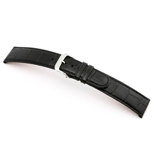 Black RIOS1931 Argentina | Embossed Leather, Alligator Print Watch Band | RIOS1931.com