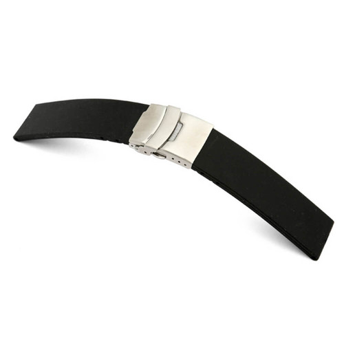 Black RIOS1931 Richmond | Rubber Watch Band with Deploy Buckle Attached | RIOS1931.com