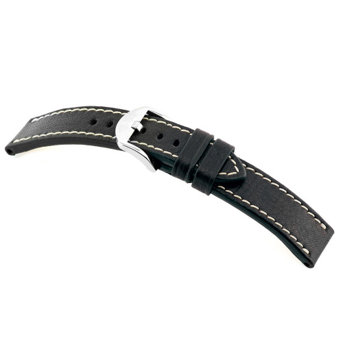 Black RIOS1931 Starnberg, Genuine Certified Organic Leather Watch Band | RIOS1931.com