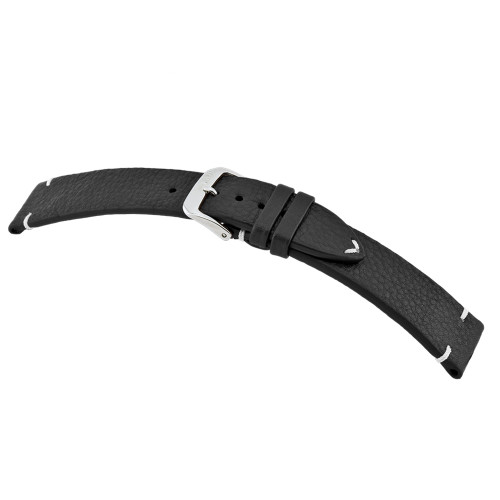 Black RIOS1931 Inzell, Genuine Certified Organic Leather - Minimal Stitch Watch Band | RIOS1931.com