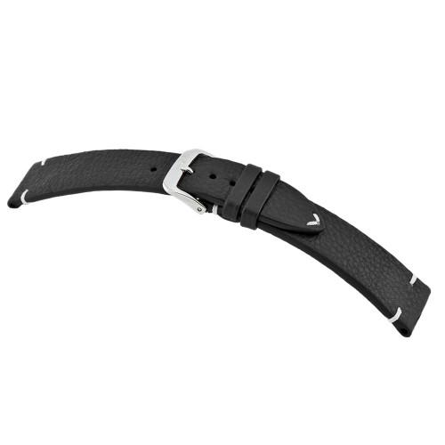 Black RIOS1931 Inzell, Genuine Certified Organic Leather - Minimal Stitch Watch Band | RIOS1931.com