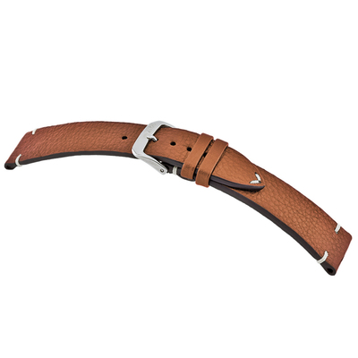 Cognac RIOS1931 Inzell, Genuine Certified Organic Leather - Minimal Stitch Watch Band | RIOS1931.com