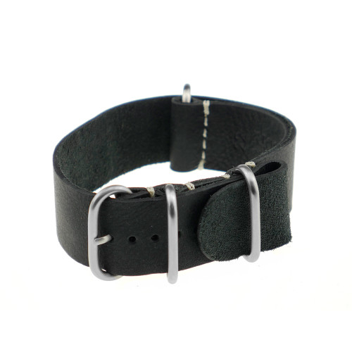 Black RIOS1931 Copenhagen, Vintage Leather Nato (4 Brushed Rings) | RIOS1931.com